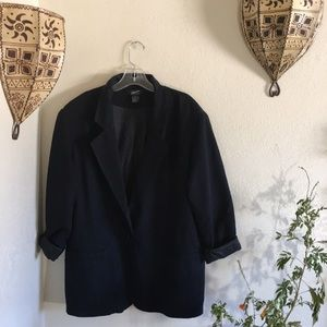 🐃VTG silk embroidered black blazer